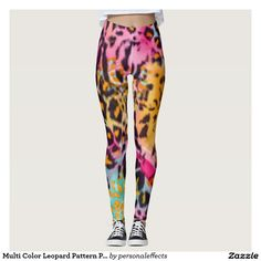 Multi Color Leopard Pattern Print Design Leggings - leopard, leopards, animal, spots, fur, wild, wildcat, wildcats, animals, safari, jungle, cat, cats, feminine, claw, claws, whiskers, trendy, chic, decorative, fashion, style, stylish, fashionista, luxury, pattern, design, multi color, colors, colorful