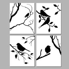 Birds of a Feather Wall Art Quad - Set of Four Coordinating Nature Prints or Bird Canvas Art - Choose YOUR Colors - Shown in Black and White - This is a collection of four modern bird silhouette prints that can be hung together in a qua - Silhouette Design, Vogel Silhouette, Wolf Silhouette, Silhouette Cameo, Silhouette Painting, Feather Wall Art, Bird Wall Art, Bird Artwork, Artwork Prints