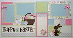 scrapbook pages  Happy Easter 12x12  premade by gautierdesigns, $30.00