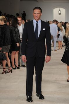 Ryan Lochte in a custom tailored Ralph Lauren Black Label suit. He looks amazing.
