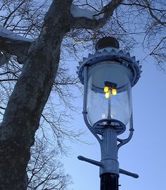 A Gas Mantle Boulevard lamp burning brightly on this wintry day. Gas Lights, Marquee Lights, American Gas, Gas Lanterns, Old Lamps, Gas And Electric, House With Porch, Porch Lighting, Street Lamp