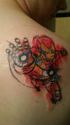 046fe1660db7f My First Tattoo Water Color Iron Man by Mark Skipper St. Louis Tattoo  Company St
