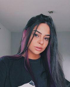 Hair Color Streaks, Hair Dye Colors, Hair Highlights, Punk Hair Color, Under Hair Dye, Under Hair Color, Two Color Hair, Hair Color Purple, Hair Buns