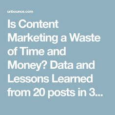 Is Content Marketing a Waste of Time and Money? Data and Lessons Learned from 20 posts in 30 days.