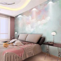 Hand Paint Abstract Colorful Clouds Wallpaper, Sky Clouds Wall Mural, Living Room or Dinning Room Wallpaper Angel Wallpaper, Cloud Wallpaper, Custom Wallpaper, Wallpaper Roll, Colorful Clouds, Sky And Clouds, Dinning Room Wallpaper, White Girls Rooms, Open Wall