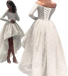 9b8f6223474 Amazon.com  Diandiai Women s Hi-Lo Prom Dress Short Sleeve Lace Evening  Dress 2018 Black Off The Shoulder Maxi Dress  Clothing