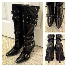 "Funtaisma Strappy 'Spicy' Buckle Patent Knee Boots Used 1x, but with tags. Great for parties, Halloween, or other costumes. I wore these one time only. Definitely true to size 7. Full length zipper closure. Approx 3-3/4"" heel. All man made. Only visible wear is to the heel tips, and soles, but appear brand new. Clean inside and out. Silver tone rivets, buckles. Comes with tags and soft sided storage box. Other sellers have these priced used at $26.99+ shipping and higher elsewhere. Funtaisma…"