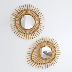 Image Nogu Eye-Shaped Vintage Rattan Mirror La Redoute Interieurs
