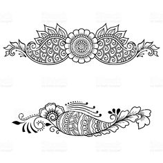 Set of ornamental patterns in the oriental style. Henna Drawings, Trippy Drawings, Border Design, Pattern Design, Print Design, Oriental Style, Oriental Fashion, Mandala Drawing, Mandala Art