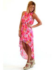 Colorful High Low Dress - Lotus Boutique
