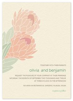 wedding invitations - Tropical Protea by Phoebe Wong-Oliveros Protea Wedding, Wedding Flowers, Save The Date Invitations, Wedding Invitations, Protea Flower, Laser Art, Perfect Marriage, Wedding Themes, Wedding Ideas