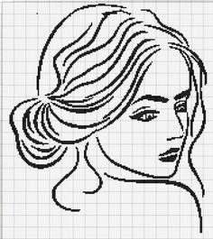Lady x-stitch pattern Cross Stitch Beginner, Tiny Cross Stitch, Cross Stitch Borders, Modern Cross Stitch Patterns, Cross Stitch Charts, Cross Stitch Designs, Cross Stitching, Embroidery Flowers Pattern, Hand Embroidery Designs