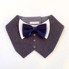 Charcoal Gray Tuxedo/Tux bib-style bandana for by FurryTaleCouture