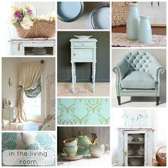From blog - Going ducking bonkers for duck egg blue.  Living room