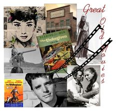"""Great Old Movies"" by plumsandhoneyvintage ❤ liked on Polyvore featuring art, Collage, movies, film, books and midcentury"