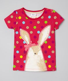 Look what I found on #zulily! Pink Polka Dot Rabbit Top - Infant, Toddler & Girls #zulilyfinds