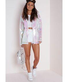 59844a1ca Holographic Rain Mac Pearlescent Pink - Coats and Jackets - Rain Macs -  Missguided