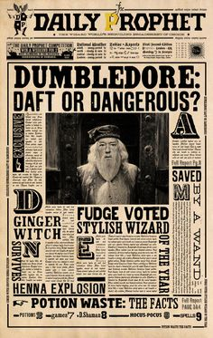 Image shared by Gwenou Potter . Find images and videos about harry potter, dumbledore and daily prophet on We Heart It - the app to get lost in what you love. Harry Potter Poster, Harry Potter Tumblr, Harry Potter Kawaii, Harry Potter Thema, Deco Harry Potter, Harry Potter Classroom, Theme Harry Potter, Harry Potter Bedroom, Harry Potter Birthday