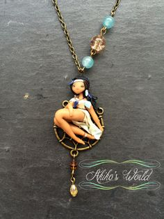 Native american chibi necklace dressed in champagne and turquoise - Dream…
