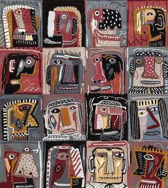 Sixteen Dudes (woven wool carpet) by Norman Clive CATHERINE