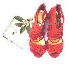 Daniblack - Sandal - Size 9M Cute Daniblack Sandal - Zipper Detail - Weaved Suede - 9M - Rusted Coral Daniblack Shoes Sandals
