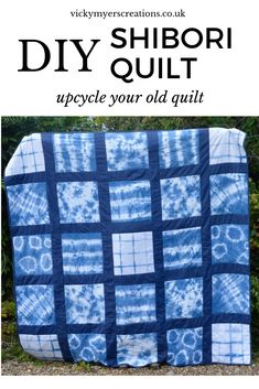 Have fun learning how to make a variety of patterns with indigo dye. with shibori techniques. Create this shibori quilt by upcycling old sheets, step by step tutorial  #quilt #shibori