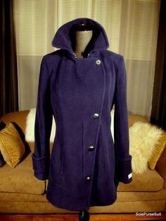 Calvin Klein | Threadflip Pea Coat, Blue Wool, Indigo Blue, Winter Coat, Wool Blend, Calvin Klein, Jackets, Fashion, Down Jackets