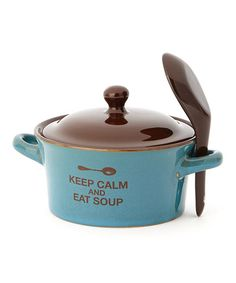 Take a look at this 'Keep Calm & Eat Soup' Soup Bowl & Spoon by Jozie B on #zulily today!