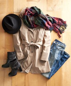 Be prepared for anything this fall. Extra layers to stay warm and a rain jacket to keep the unpredictable weather out fit the bill. Featured product includes: Croft & Barrow hooded rain jacket, Rock & Republic skinny jeans, Juicy Couture ankle boots, Peter Grimm hat and Chaps blanket scarf.