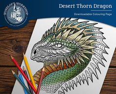 Spiny Dragon Coloring Page, Fantasy Art, Magical Creature, Digital Download
