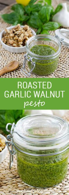This roasted garlic walnut pesto recipe is so easy and it's my favorite sauce for spiralizer zucchini noodles. It's dairy-free and gluten-free...