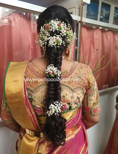 Order Fresh flower poolajada, bridal accessories from our local branches present over SouthIndia, Mumbai, Delhi, Singapore and USA. Saree Hairstyles, Indian Wedding Hairstyles, Bride Hairstyles, Bridal Hair Buns, Bridal Braids, Flower Hair Accessories, Bridal Accessories, Hair Decorations, Floral Hair