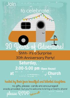 Retro RV invitations for our camping themed party Camping Party Invitations, 80th Birthday Invitations, Retirement Party Invitations, 50th Birthday Cards, Retirement Parties, Dad Birthday, Retirement Ideas, Girl Camping Parties, Camping Theme