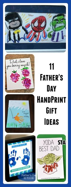 These are cute ways to give a meaningful gift to Dad for Father's Day this year!  All of them use kids handprints!!