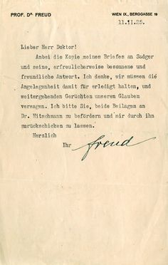 "Sigmund Freud (1856-1939) Personal letter written by the leading psychoanalyst: The neurologist, Sigmund Freud (1856-1939) was a prolific essayist whose musings, drawn from psychoanalysis, altered modern perceptions on history, gender and culture. Sigmund Freud, signed personal letter: In German, signed ""Freud,"" one page, 5.75 x 9.25, personal letterhead, February 11, 1925. Letter to a colleague, in full, ""Enclosed is a copy of my letter to Sadger, together with his - I am happy to note…"