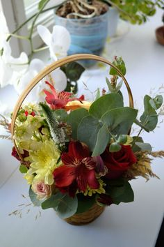 Floral composition in the basket