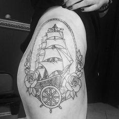 Photo by (katarzynaolejnik) on Instagram |  #inked, #tattooed, #ship, #outline, #marine, #hiptattoos, #hip, #oldschool, #sofuckinghappy, #iloveit, #shottattoo, #gdansk