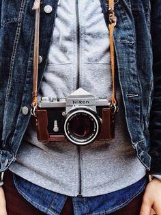 The combination of vintage - Denim jacket  shirt, gray sweatshirt  camera. https://BellaRusticaDesign.com