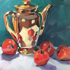Trying out a new gold kettle. Or maybe just vibing the Christmas colors too soon. Painting Still Life, Still Life Art, Painting Inspiration, Art Inspo, Academic Drawing, Aesthetic Painting, Expressive Art, Abstract Drawings, Traditional Paintings