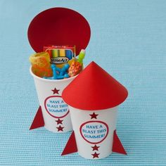 """Rockin' Rocket Favors. Made these for Katie's class at the end of the year for their """"blast off to kindergarten party."""""""