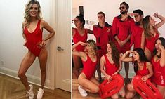 Eugenie Bouchard channels her inner-Baywatch for Halloween | Daily Mail Online Trio Costumes, Trio Halloween Costumes, Halloween Party, Halloween 2020, Baywatch Costume, 80s Costume, 90s Dress Up, Fancy Dress, Blond