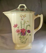 VINTAGE RARE HOMER LAUGHLIN RIVIERA IVORY COSMOS FLORAL DECORATED BATTER PITCHER