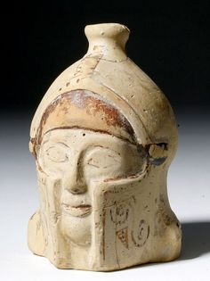 Rare Greek Corinthian Aryballos of a Helmeted WarriorFrom Corinth, Rhodes or eastern Greece, Archaic period, C. 600 BC A gorgeous aryballos in the shape of a warriors' head, complete with geometrically-decorated helmet. This would have served as a. Corinth Greece, Ephesus, Corinthian, Ancient Artifacts, Greek, Ceramics, Rhodes, History, Warriors