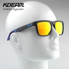 70ef1fa3451a8 Kdeam Sport Sunglasses Men Reflective Coating Square Sun Glasses Women  Brand Design Mirrored Oculos De Sol With Penut Hard Case