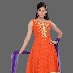Orange Chanderi Jacquard Readymade Anarkali Churidar Kameez