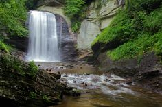 Looking Glass Falls today in the Pisgah National Forest, North Carolina. Near Asheville and Brevard NC.