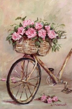 Vintage Bicycle with Rose Basket Painting Decoupage Vintage, Decoupage Paper, Art Floral, Vintage Cards, Vintage Paper, Vintage Pictures, Vintage Images, Bicycle Art, Bicycle Painting