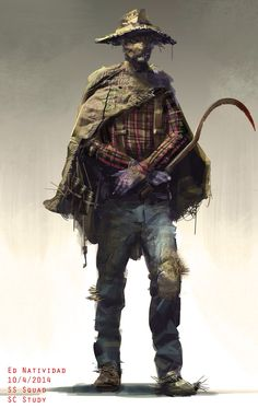 Concept Art for the design of the DCU Scarecrow that could have been in Suicide Squad