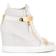 Giuseppe Zanotti Design 'Chrome' hi-top sneakers (2.980 RON) ❤ liked on Polyvore featuring shoes, sneakers, white, white leather sneakers, white velcro sneakers, leather high tops, hidden wedge sneakers and leather sneakers