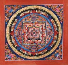 Golden Kalachakra Mandala Thangka Painting